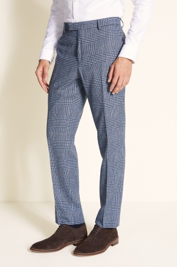 Moss 1851 Tailored Fit Light Blue Check Tweed Trouser