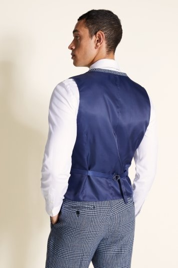 Moss 1851 Tailored Fit Light Blue Check Tweed Waistcoat
