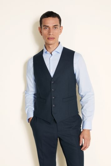 Moss 1851 Tailored Fit Hunter Green Flannel Waistcoat