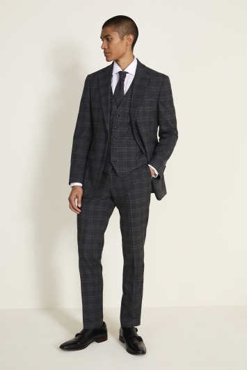 Moss 1851 Tailored Fit Charcoal Check Jacket