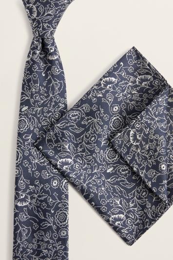 Navy & Silver Floral Tie & Hank Set