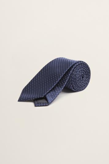 Navy with White Pindot Tie