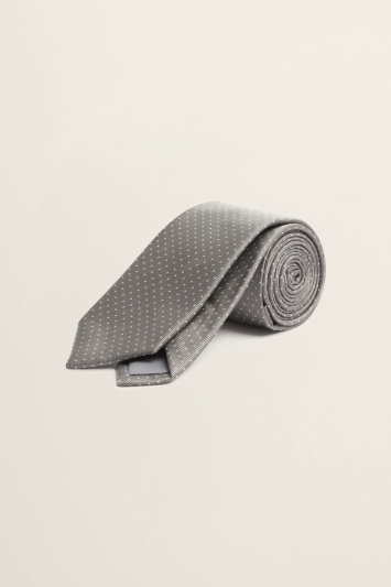 Grey with White Pindot Tie