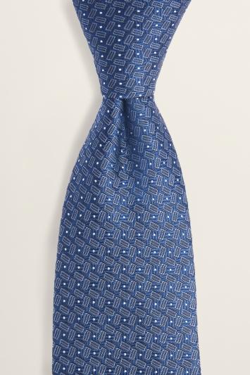Navy Semi-Plain Silk Tie