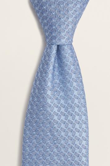 Blue Semi-Plain Silk Tie