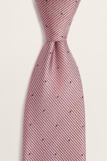 Pink Contrast Spot Silk Tie
