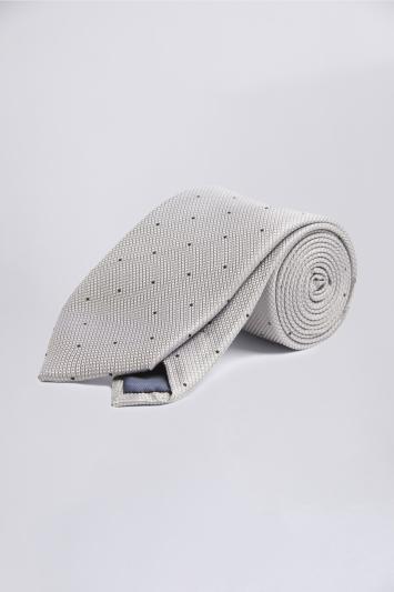 Silver Contrast Spot Silk Tie