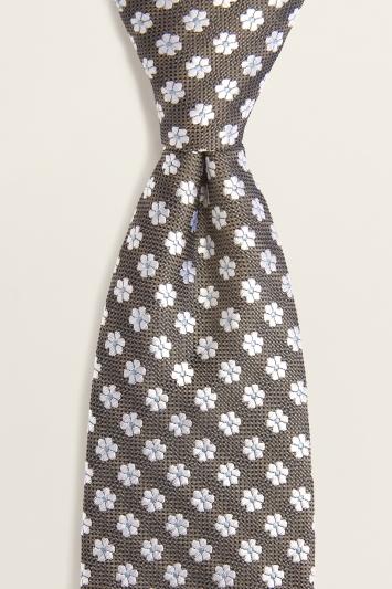 Brown Floral Geo Silk Tie