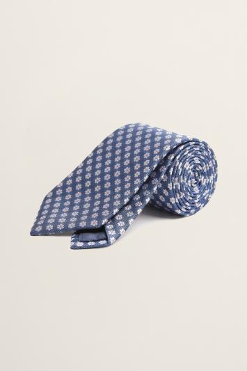 Blue Floral Geo Silk Tie