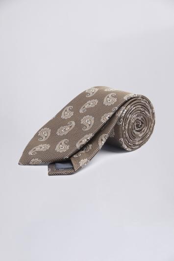 Brown Tonal Paisley Silk Tie