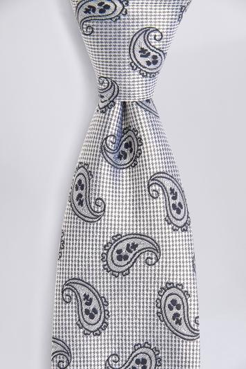 Silver Tonal Paisley Silk Tie