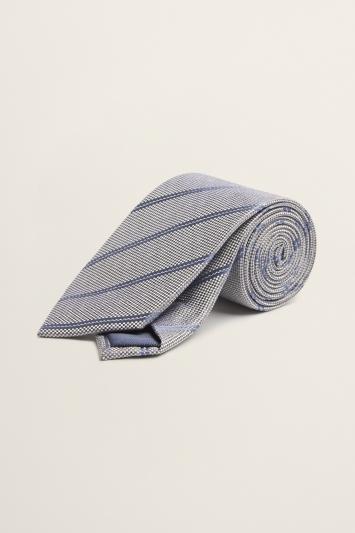 Sage Green with Navy Stripe Silk Tie