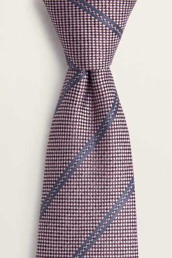 Mulberry with Navy Stripe Silk Tie