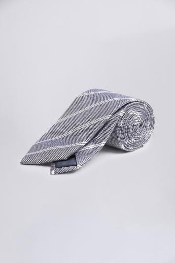 Silver-Blue with White Stripe Silk Tie