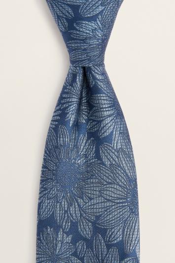 Navy Modern Floral Silk Tie
