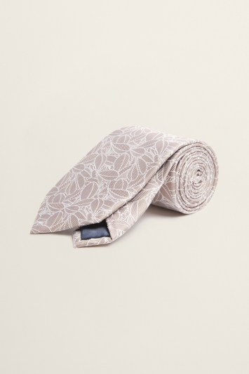 Champagne Abstract Floral Silk Tie