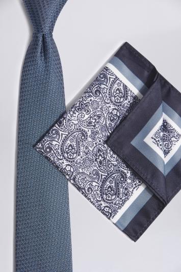 Blue & White Paisley Tie & Hank Set