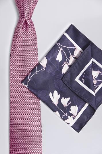 Pink & Navy Floral Tie & Hank Set