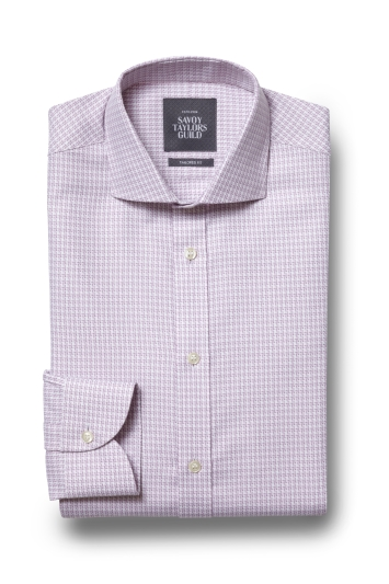 Savoy Taylors Guild Tailored Fit Pink Single Cuff Houndstooth Shirt