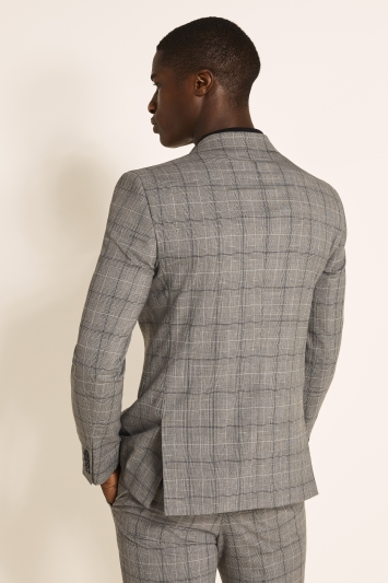 Moss 1851 Slim Fit Grey Navy Prince of Wales Check Jacket