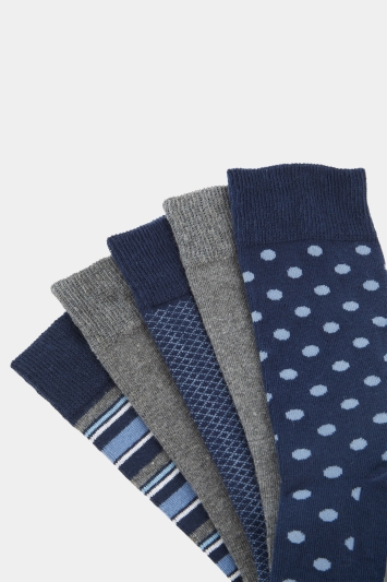 Moss 1851 Navy 5 Pack Cotton Blend Socks