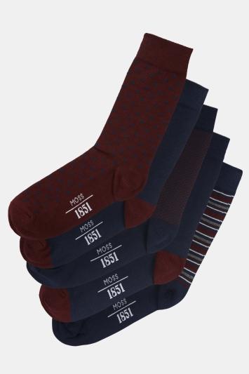 Moss 1851 Burgundy & Navy 5-Pack Cotton Blend Socks