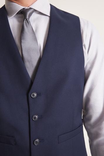 Moss 1851 Tailored Fit Blue Twill Waistcoat
