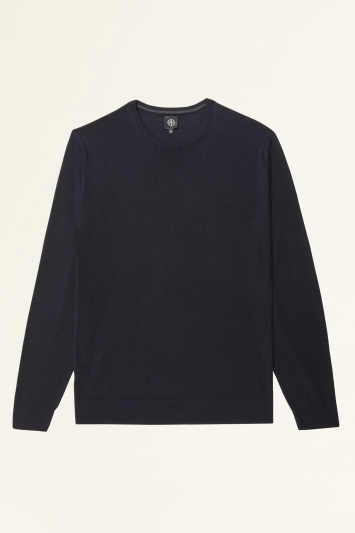Moss Bros Navy Merino-Blend Crew-Neck Jumper
