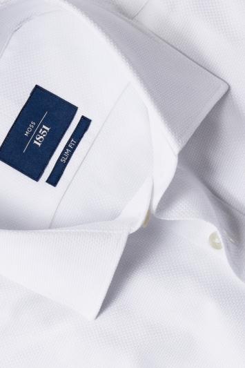 Moss 1851 Slim Fit White Single Cuff Textured Shirt