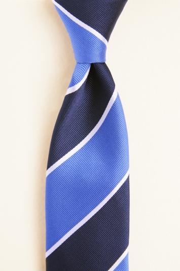 Navy & Royal Blue Club Stripe Silk Tie
