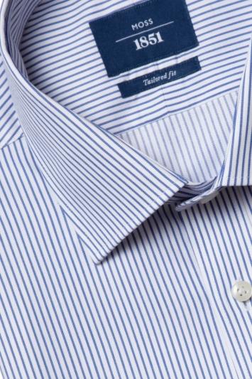 Moss 1851 Tailored Fit Blue Single Cuff Herringbone Stripe Shirt