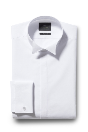 Extra Slim Fit White Double Cuff Wing Collar Dress Shirt