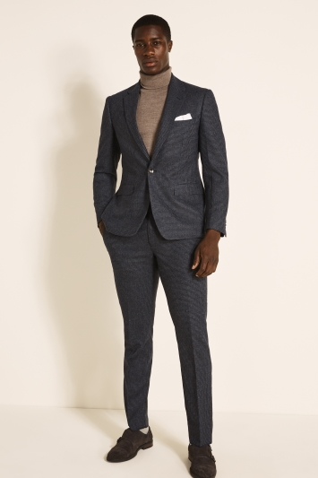 Moss London Slim Fit Navy Charcoal Puppytooth Tweed Jacket