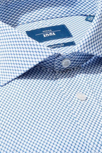 Moss 1851 Tailored Fit Sky Single Cuff Geo Print Shirt
