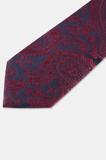 Navy & Red Paisley Tie
