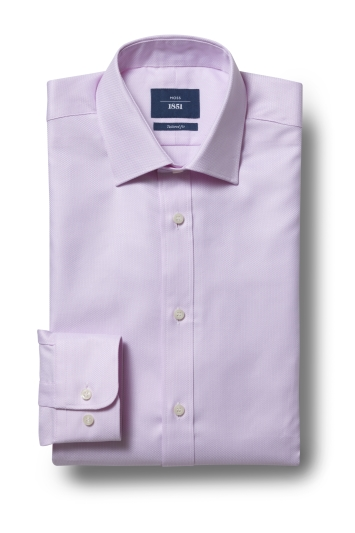 Moss 1851 Tailored Fit Pink Single Cuff Egyptian Cotton Textured Shirt