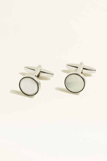 Moss 1851 Silver Circle with Mother of Pearl Insert Cufflink