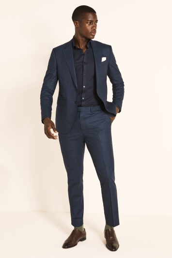Moss London x Guabello Slim Fit Royal Blue Flannel Jacket