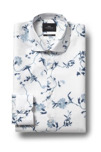 Moss London Skinny Fit Blue Single Cuff Floral Shirt