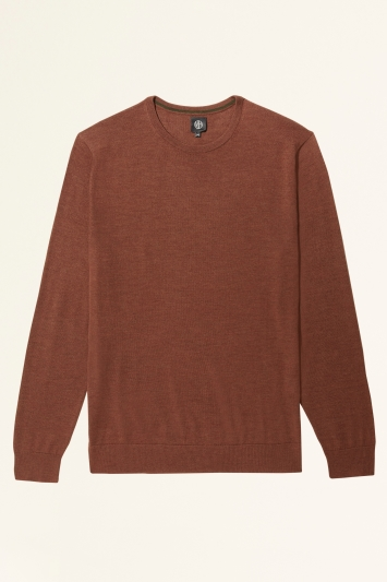 Moss Bros Rust Merino-Blend Crew-Neck Jumper