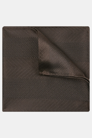 Moss 1851 Brown Herringbone Wide Stripe Silk Pocket Square