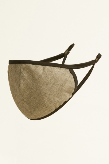 Moss Charcoal Plain Chambray Cotton Mask