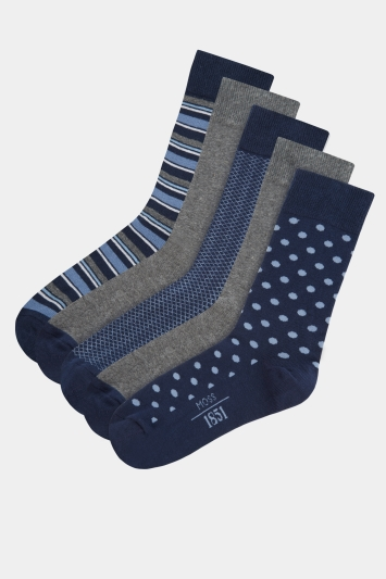 Moss 1851 Navy 5 Pack Cotton Blend Socks