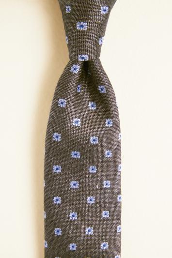 Brown with Blue Floral Geo Silk & Linen Tie