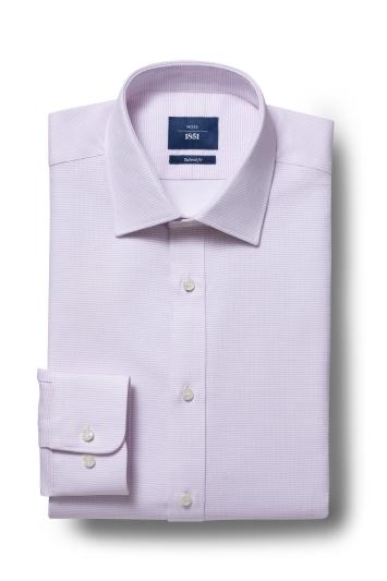 Moss 1851 Tailored Fit Pink Single Cuff Textured Shirt