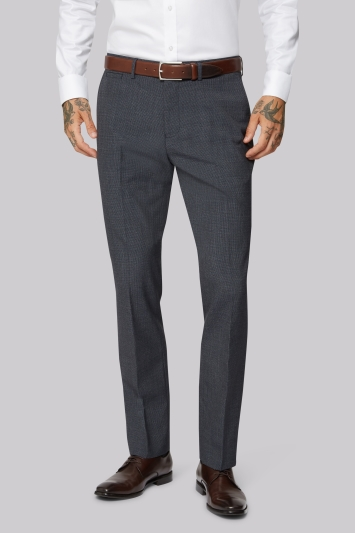 Moss 1851 Wool Rich Machine Washable Navy Fleck Puppytooth Trousers