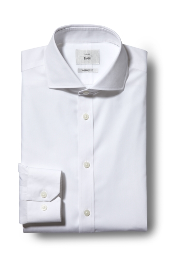 Moss 1851 Tailored Fit White Single Cuff Zero Iron Shirt