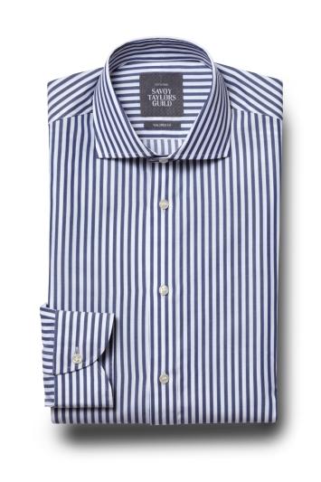 Savoy Taylors Guild Tailored Fit Blue Single Cuff Stripe Shirt