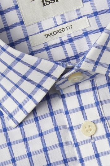 Tailored Fit Blue Check Twill Short Sleeve Zero Iron Shirt