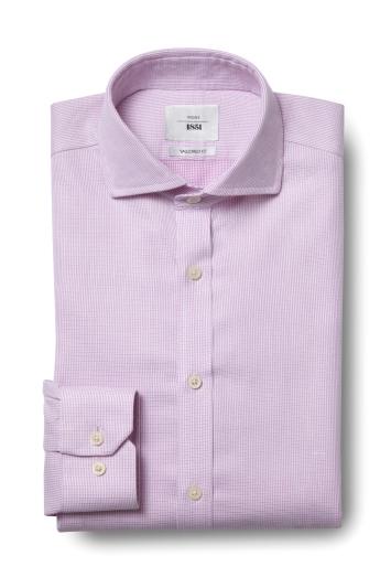 Moss 1851 Tailored Fit Pink Single Cuff Dobby Textured Zero Iron Shirt